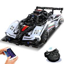 APP teknik RC araba MOC yapı taşları hız şampiyonları süper yarış modeli tuğla çocuk oyuncakları erkek arkadaşı hediye yetişkin için hediye
