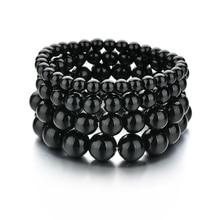 Новинка, ручной работы, натуральный камень, бисерные браслеты для мужчин и женщин, яркий черный оникс, браслеты из бусин, мужской браслет, ювелирные изделия, подарки