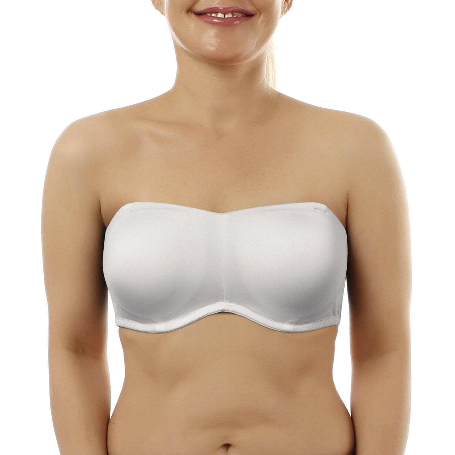 New White Soft Strapless Bras Adjusted Silicone Strength Quality Bra Padded Bone A B C D DD DDD E F G 32 34 36 38 40 42 44 46 48