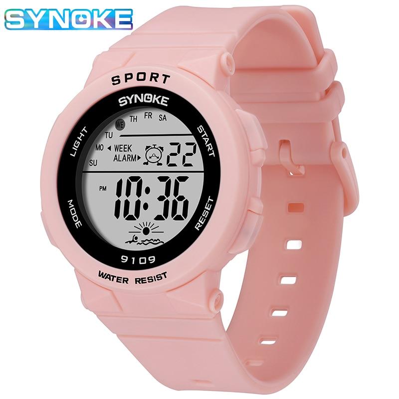 Women Watch 2020 SYNOKE Brand Fashion Lady Pink Watch Silicone Strap 50M Waterproof Clock Gifts For Girls Relogio Feminino NEW