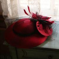 Burgundy White Veil Wedding Hat Fairy Flower Mesh Fascinator Fedora Hat Elegant Ladies COcktail Derby Bride Hat Headpieces 2019