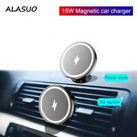 Soporte magnético para cargador de coche inalámbrico, para Iphone 12 Mini Pro Max Macsafe 15W Max carga rápida soporte para teléfono de coche