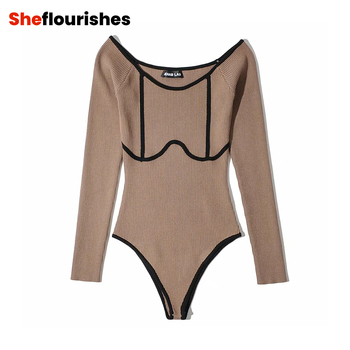Sexy Off Shoulder Slash Neck Contrast Color Knitted Playsuit Women's Autumn Outerwear Skinny Top Long Sleeve Bodysuit new ins sexy off shoulder copper buckle knitted off shoulder top