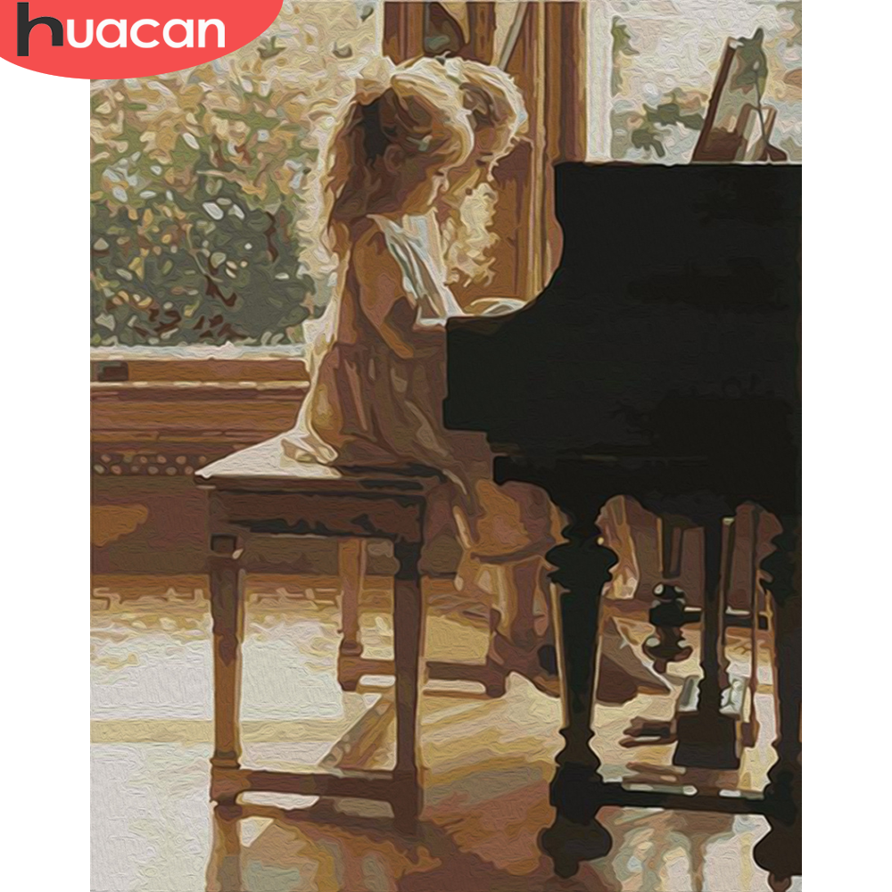 HUACAN DIY Paint By Number Girl Drawing On Canvas HandPainted Painting Girls DIY Pictures By Number For Living Room Home Decor