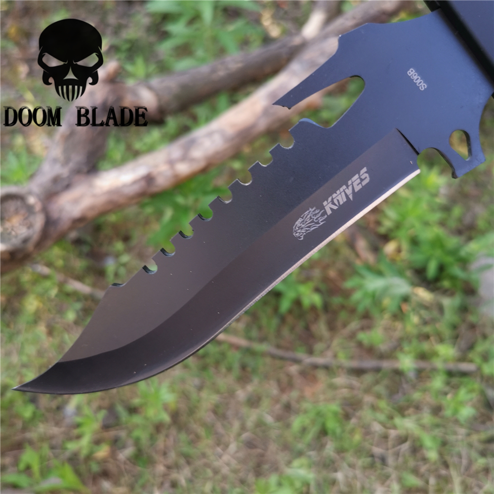 Black 8CR13MOV Steel Tactical Blade Straight Knife 57HRC Knives Good for Hunting Camping Survival Outdoor and