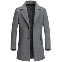 Мужское шерстяное пальто из смешанной ткани с атласной подкладкой осень-весна 1