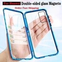 Funda magnética de vidrio de doble cara para móvil, carcasa de Metal para Huawei P40, P30, P20 Lite Pro, Honor 10 Lite, 8X, P Smart Z, Y9, 2019