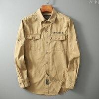 Джинсовая стильная рубашка мужская в армейском стиле 1