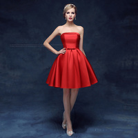 Classic Red Sexy Strapless Short Evening Dress New Noble Satin Lace Up Slim Plus Size Party Prom Evening Gown Robe De Soiree