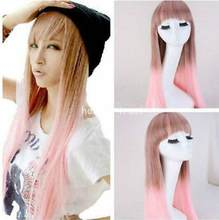 Free Shipping Fashion Women Long Straight Pink Brown Hair Flat Bangs Cosplay Costume Full Wigs(China)