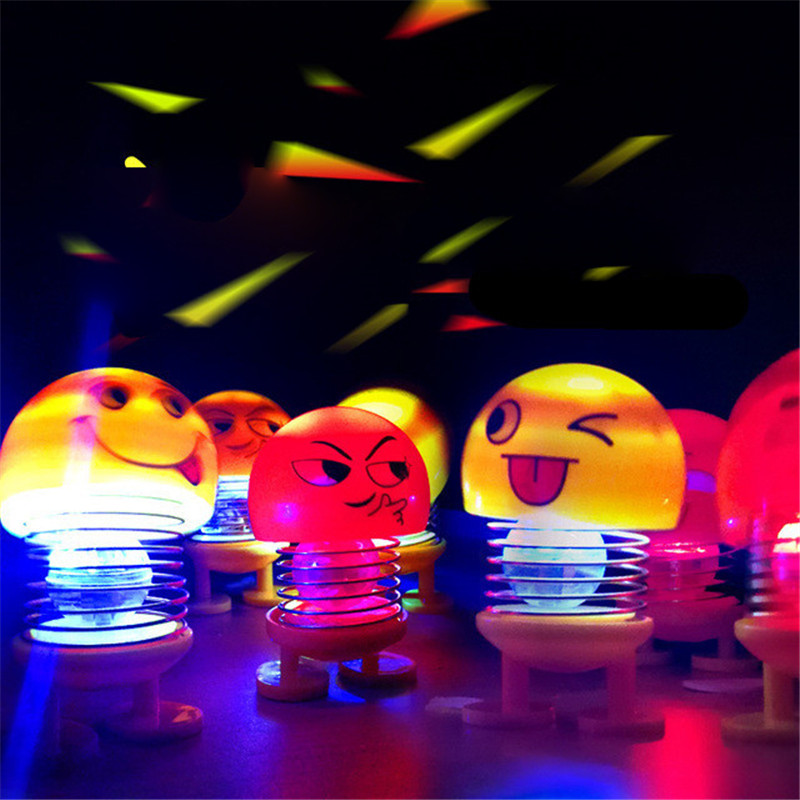 6Pcs/Set Car Ornaments Funny Spring Toy Glowing Interior Accessories Auto Decors Shaking Head Doll Cute Auto Interior