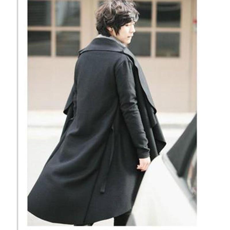 S-4XL autumn and winter men's cloak shawl long coat fashion Korean version of woolen windbreaker personality cloak tide men's wo