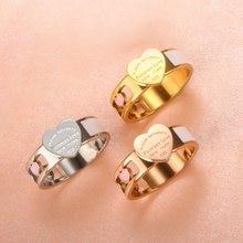 Moda Hollow kolorowe serce pierścienie ze stali nierdzewnej duże serce Tag biały Shell pierścień dla kobiet dziewczyn kobiet mężczyzn biżuteria ślubna