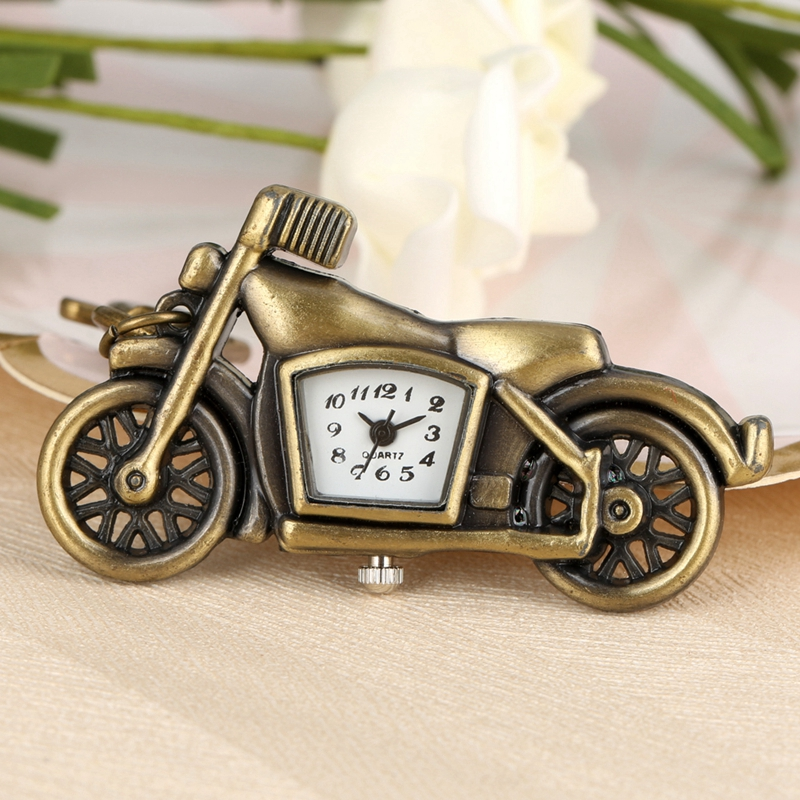 Retro Bronze Keychain Quartz Pocket Watch Motorcycle Key Chains Necklace Pendant Student Jewelry Clock Gifts For Men Women Kids