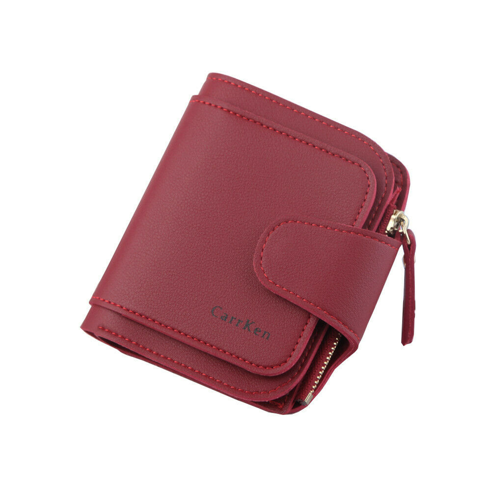 Women's Wallet Leather Folding Coin Card Holder Female Wallet Buckle Ladies Short Paragraph Buckle Money Clip Card Package