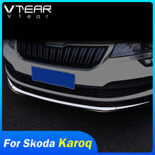 Vdéchirure – garniture de pare-choc avant pour Skoda Karoq, bas de voiture, en acier inoxydable, grille moteur, cadre de grille, couverture chromée, accessoires