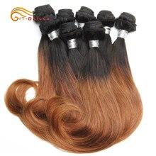 Htonicca produtos de cabelo encaracolado 20 g/pc brasileiro remy do cabelo humano 8 pacotes cabelo curto extensão ombre pacotes transporte da gota