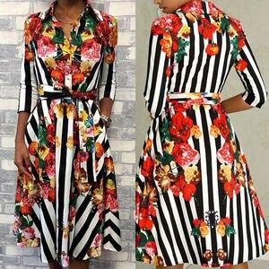 Fashion Women Autumn Boho Floral Stripe Long Sleeve Print Dress Party Casual Clothes