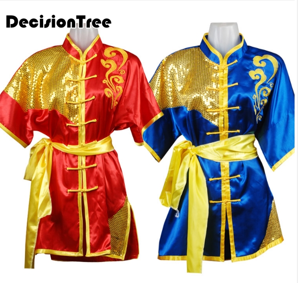 2019 Chinese Men Rayon Tai Chi Wushu Shaolin Kung Fu Uniform Wing Chun Uniform Martial Arts Suit  Paillette Embroidery Dragon