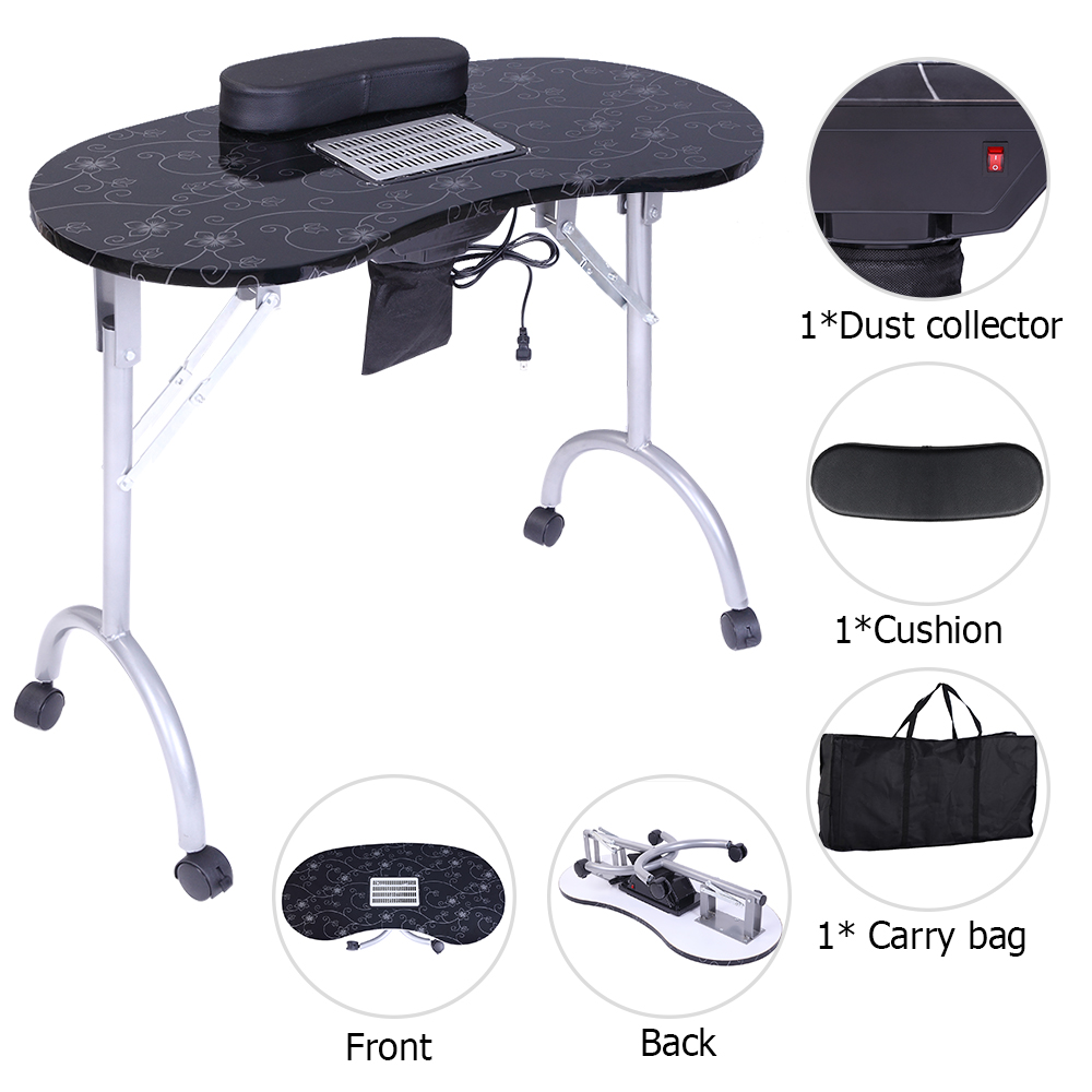 【US Warehouse】Portable MDF Manicure Table Spa Beauty Salon Equipment Desk With Dust Collector & Cushion & Fan Black
