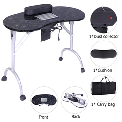 【US Warehouse】Portable MDF Maniküre Tisch Spa Schönheit Salon Ausrüstung Schreibtisch mit Staub Kollektor & Kissen & Fan Schwarz