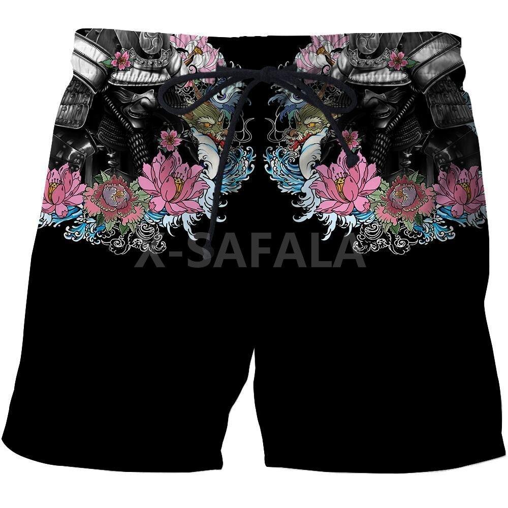 Шорты мужские с 3D-принтом, уличная одежда унисекс в японском стиле Самурай, с эластичным поясом, пляжные повседневные в стиле Харадзюку, 2 шт.