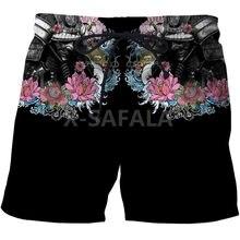 Japonais samouraï tatouage 3D impression hommes Shorts unisexe Streetwear taille élastique Shorts été plage Harajuku décontracté cordon-2