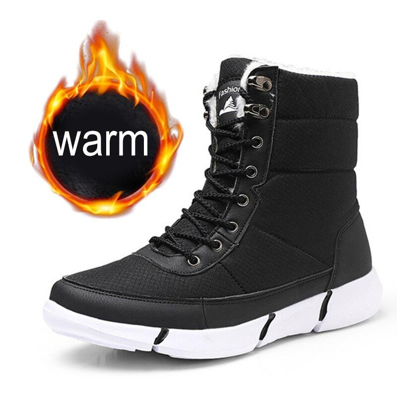 Winter Ankle Boot Men Winter Men Boots With Fur Snow Boots Lace Up Snow Shoes For Men Warm Fur Plush Men Shoes Mans Footwear