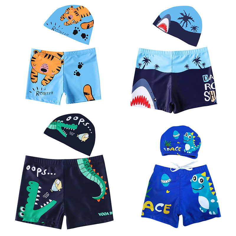 New Arrival Cartoon Printed Boy Kid Swimsuit Shorts + Hat Surfing Swimwear for 2-6 year 2021