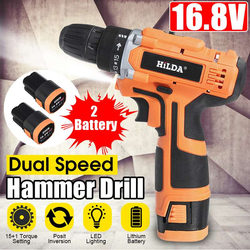 16.8V 2 Speed Cordless Drill Electric Screwdriver 32Nm Torque Mini Wireless Power Driver With 2 DC Lithium-Ion Battery 3/8-In