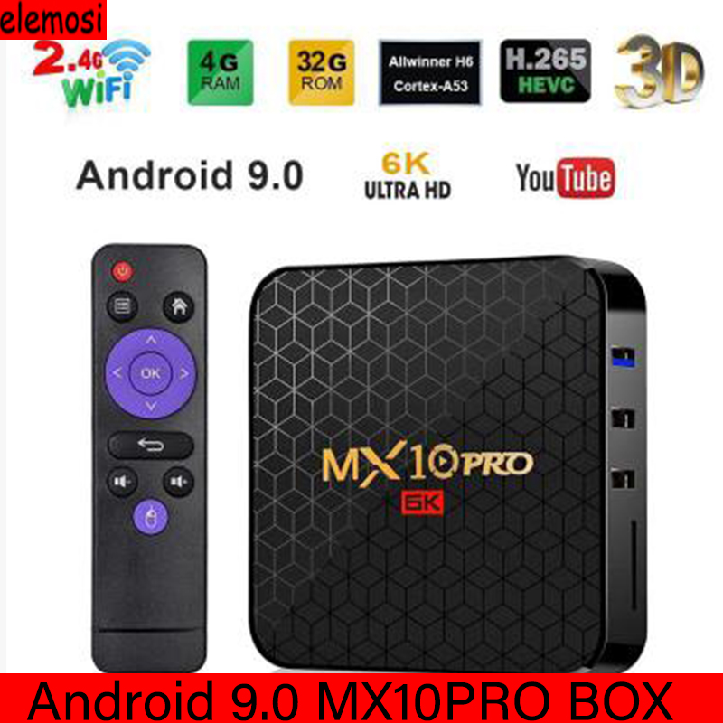 <font><b>MX10</b></font> <font><b>PRO</b></font> <font><b>Smart</b></font> <font><b>TV</b></font> <font><b>BOX</b></font> Android 9.0 <font><b>TV</b></font> <font><b>BOX</b></font> Media Player Allwinner H6 HDMI 2.0a 60Hz 6K USB 3.0 4GB Ram Media Player Set Top <font><b>Box</b></font> image
