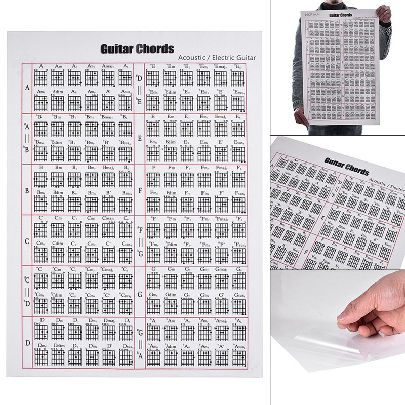 Acoustic / Electric Guitar Chord & Scale Chart Poster Tool Lessons Music Learning Aid Reference Tabs Chart 16Inch X 12Inch