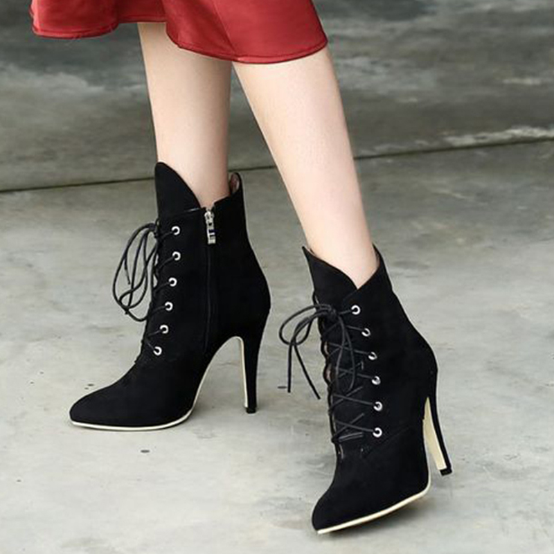 Women Ankle Boots Pointed Toe Stiletto High Heel Zip Plus Size Winter Shoes