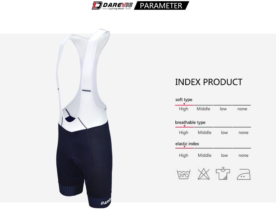 Купить с кэшбэком Darevie Cycling Bib Shorts Men Breathable Pro Cycling Bib Shorts Shockproof 3D Sponge Pad Cycling Pants 7cm Leg Band 6 Hour Ride