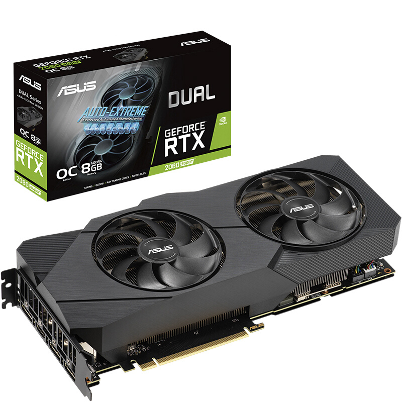 ASUS DUAL-RTX2080S-O8G-EVO SUPRE Turing Architecture Desktop Game Graphics Card GDDR6 Support 4 Screen Output