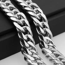 Miami Cuban Chains For Men Hip Hop Jewelry Wholesale Silver Color Thick Stainless Steel Big Chunky Necklace 13MM/16mm/19mm/21mm