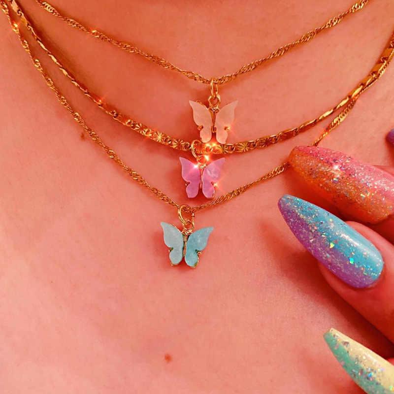 ファンシーアクリル蝶モデリングペンダントネックレス女性のためのロマンチックな甘いnecklac素敵なチョーカー夏のジュエリー