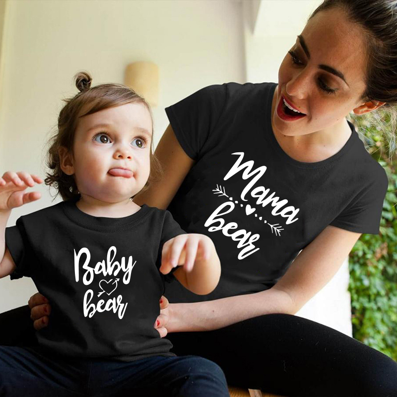 Baby and lady print family matching clothes mother daughter son summer outfits women mom girl Cotton T-shirt Tops Kids Boys