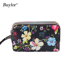Buylor Wallets for Women Purse Polyester Phone Case ID Cards Holder Lady Organizer Coin Purse 3 Zipper Floral Pockets Clutch
