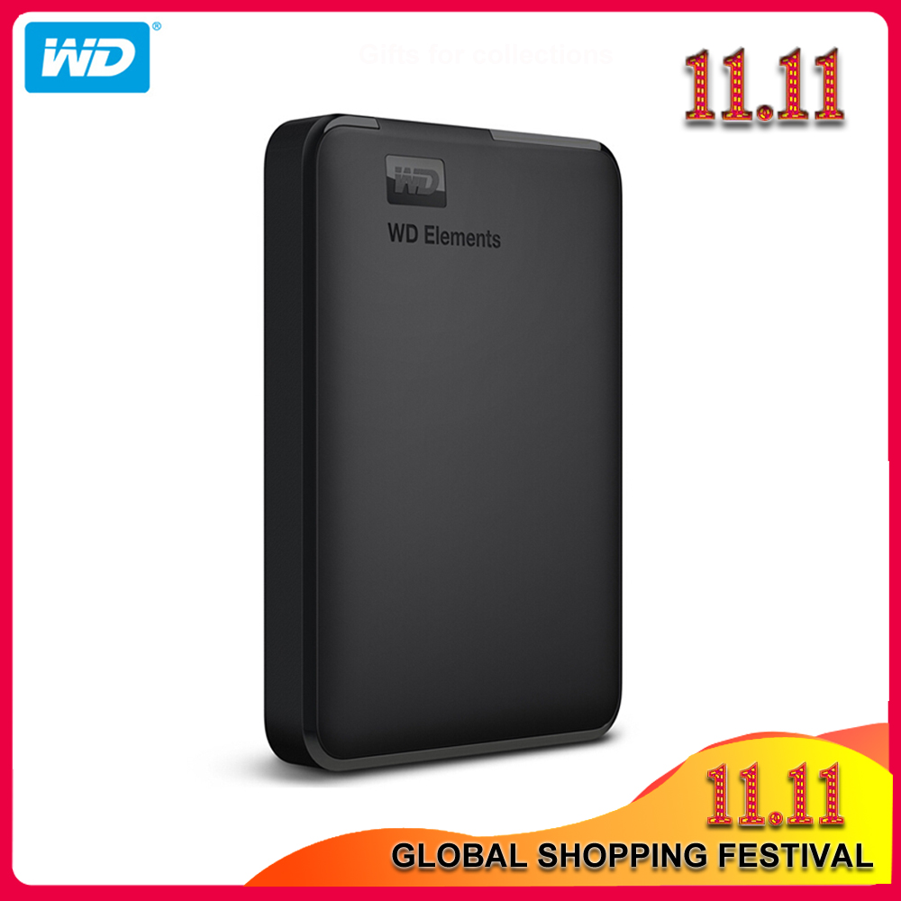 100% Original Western Digital Elements External HDD 1TB 2TB 4TB USB 3.0 Portable Hard Drive Disk with HDD Cable for PC laptop