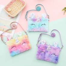 Wallet Pouch Handbags Unicorn Plush Purses Shoulder-Bag Money-Change Girl Baby Kids Cartoon