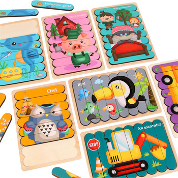 Kids Animal 3D Wooden Puzzle Montessori Toy Double-sided Strip Puzzle Telling Story Stacking Jigsaw Educational Toy For Children 1