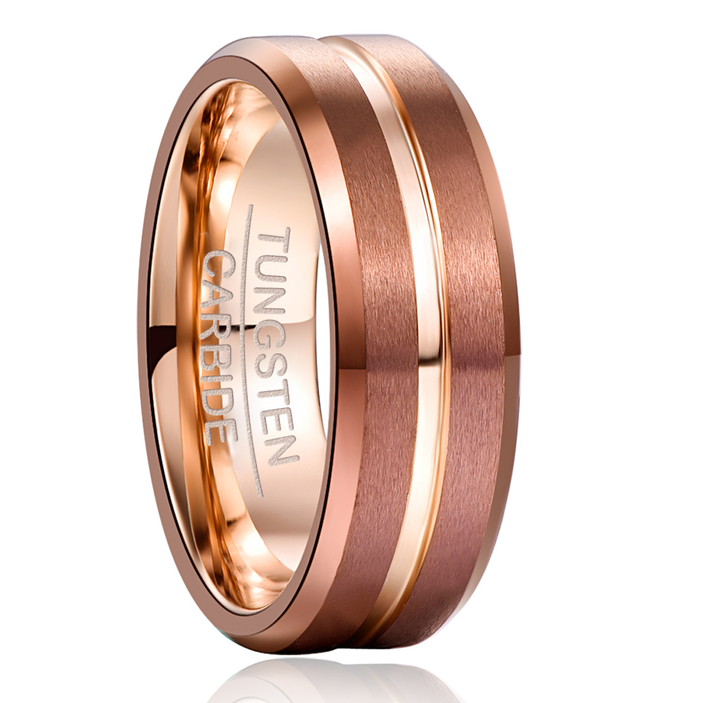NUNCAD 8mm Width Tungsten Carbide Ring Brown Plating   Rose Gold Middle Groove Angle Tungsten Steel Men s Ring Comfort Fit