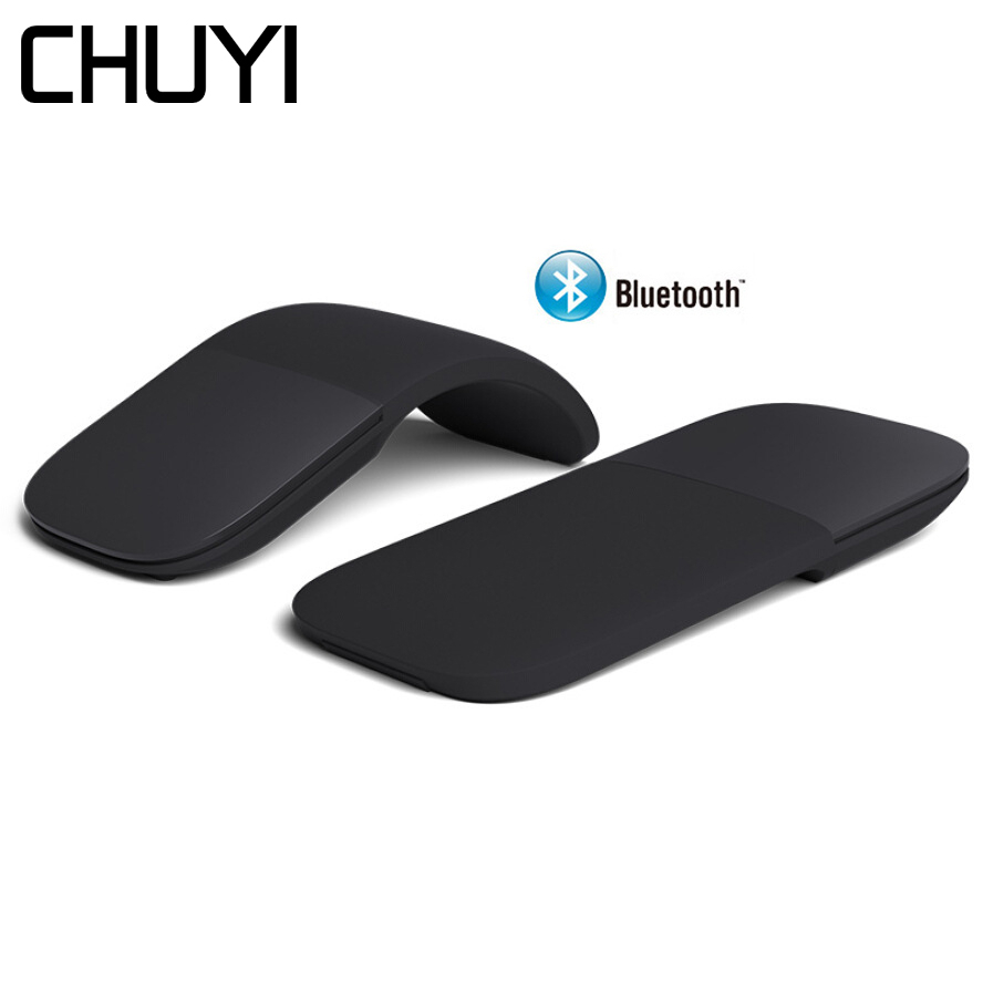 Chuyi sem fio bluetooth 4.0 mouse silencioso arco rolo de toque a laser ratos ultra fino computador jogos dobrável mause para microsoft pc