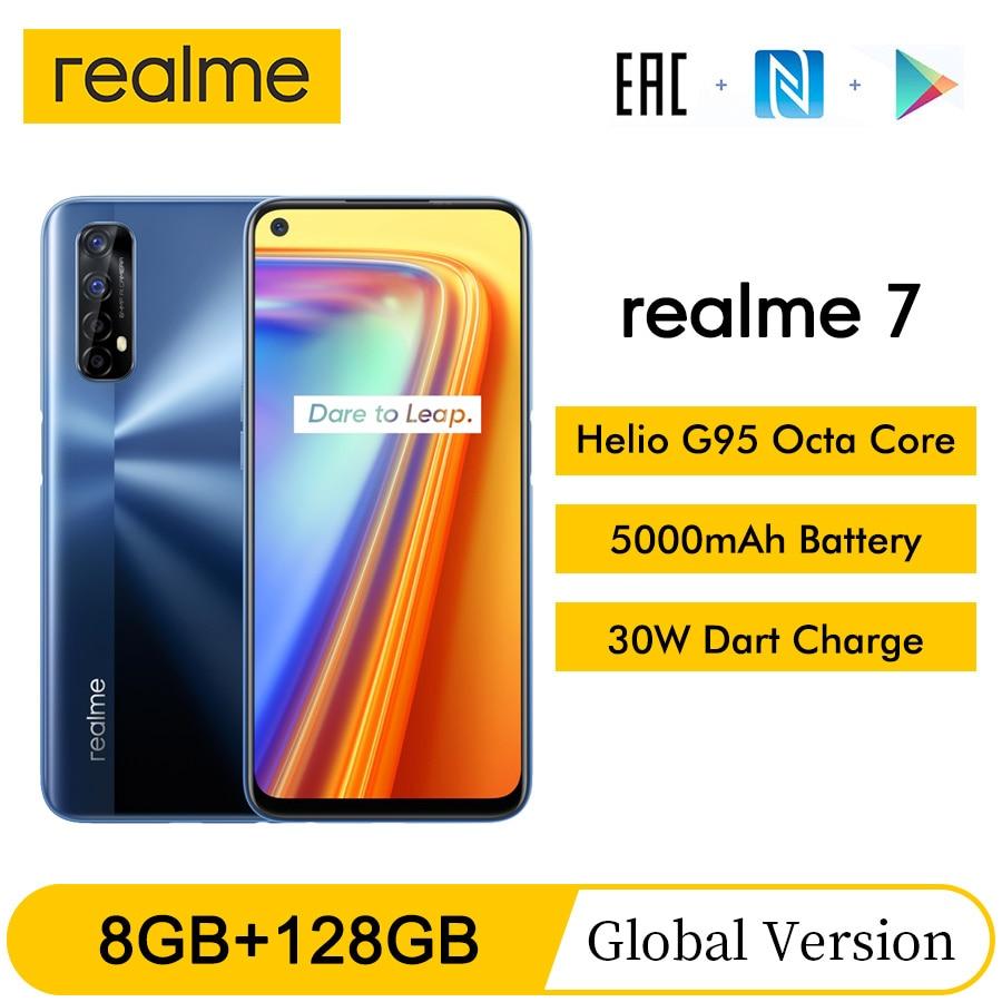 Realme 7 NFC 6,5 ''FHD + Глобальная Версия 8GB 128GB смартфон 30 Вт Дротика зарядка 5В/6A Helio G95 48MP полноэкранный 5000 мА/ч, мобильный телефон
