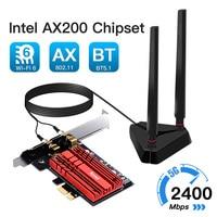Adaptador Wifi inalámbrico Wifi6 de doble banda, 1200mbps, Intel AX200 PCIe, 3000G/5Ghz, 2,4. 11ac/ax, Bluetooth 802, tarjeta AX200NGW para PC y Windows