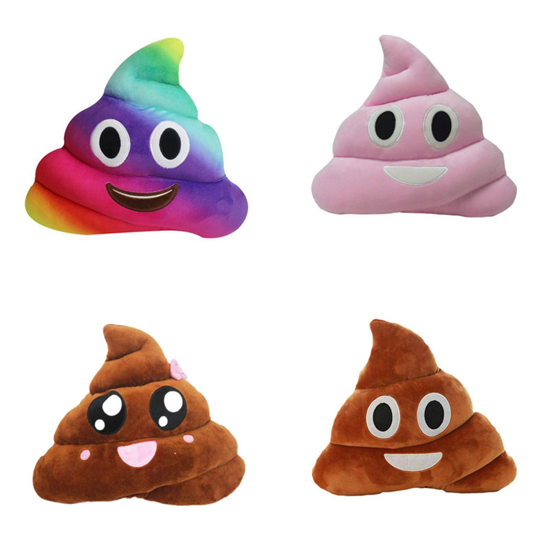 Cute Rainbow Poo Shape Expression Pillow Cushion Seat Back Cushion Soft Plush Home Decorative Throw Pillow Kids Toy Gift