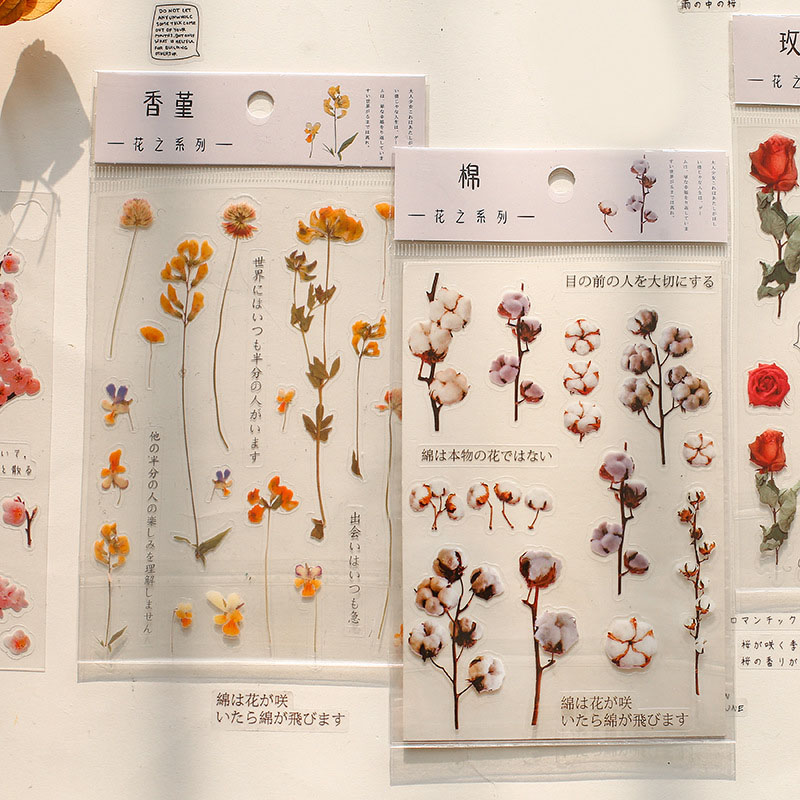 1Sheet Kawaii Flower Stickers Cute Adhesive Decor Stickers Plant PET Sticker For Kids DIY Scrapbooking Diary Stationery Supplies