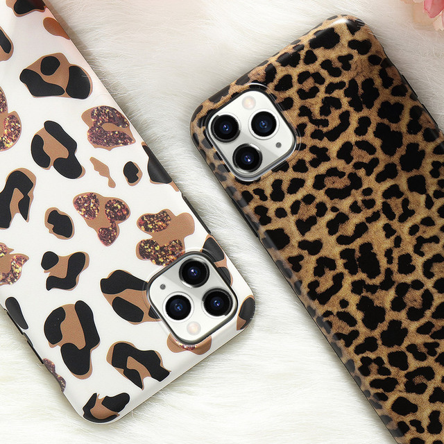 Leopard Fake Glitter Case for IPhone 11 Pro Max X XR XS 7 8 Plus 6 6S SE2020 12 Mini Slim Rubber Soft Phone Cover Funda Coque 5