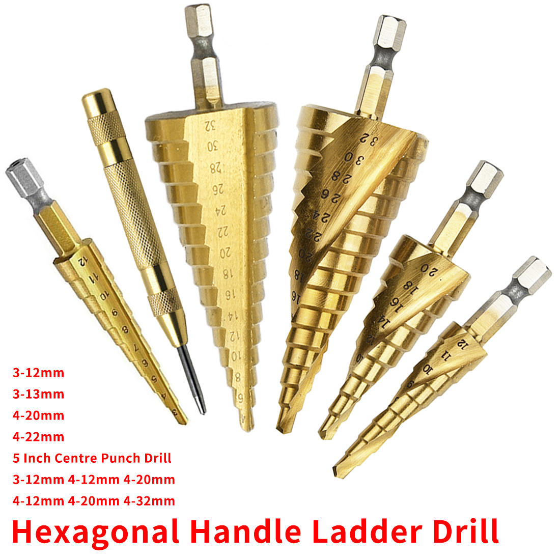 Titanium Step Cone Drill Bit 3-12mm/13mm 4-12/20/32mm Hole Cutter HSS 4241 For Sheet Metalworking Wood Drilling Power Tool